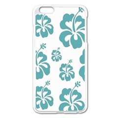 Hibiscus Flowers Green White Hawaiian Blue Apple Iphone 6 Plus/6s Plus Enamel White Case by Mariart
