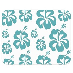 Hibiscus Flowers Green White Hawaiian Blue Double Sided Flano Blanket (medium)  by Mariart