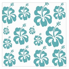 Hibiscus Flowers Green White Hawaiian Blue Large Satin Scarf (square) by Mariart