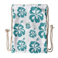Hibiscus Flowers Green White Hawaiian Blue Drawstring Bag (large) by Mariart