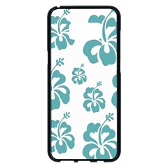 Hibiscus Flowers Green White Hawaiian Blue Samsung Galaxy S8 Plus Black Seamless Case by Mariart
