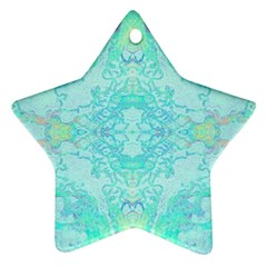 Green Tie Dye Kaleidoscope Opaque Color Star Ornament (two Sides) by Mariart