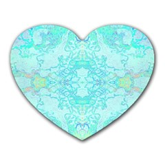 Green Tie Dye Kaleidoscope Opaque Color Heart Mousepads by Mariart