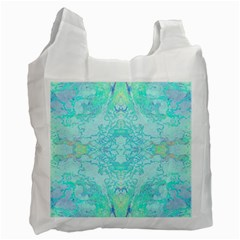 Green Tie Dye Kaleidoscope Opaque Color Recycle Bag (two Side)  by Mariart