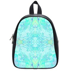 Green Tie Dye Kaleidoscope Opaque Color School Bags (small)