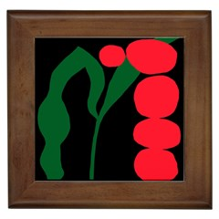 Illustrators Portraits Plants Green Red Polka Dots Framed Tiles by Mariart