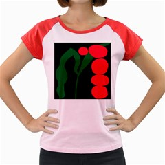 Illustrators Portraits Plants Green Red Polka Dots Women s Cap Sleeve T Shirt