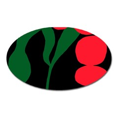 Illustrators Portraits Plants Green Red Polka Dots Oval Magnet by Mariart