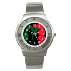 Illustrators Portraits Plants Green Red Polka Dots Stainless Steel Watch by Mariart