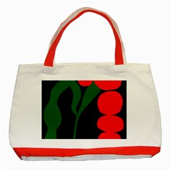 Illustrators Portraits Plants Green Red Polka Dots Classic Tote Bag (red) by Mariart