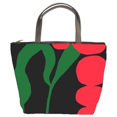 Illustrators Portraits Plants Green Red Polka Dots Bucket Bags by Mariart