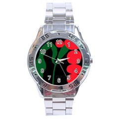 Illustrators Portraits Plants Green Red Polka Dots Stainless Steel Analogue Watch