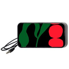 Illustrators Portraits Plants Green Red Polka Dots Portable Speaker (black) by Mariart
