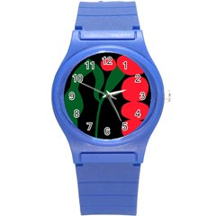 Illustrators Portraits Plants Green Red Polka Dots Round Plastic Sport Watch (s) by Mariart