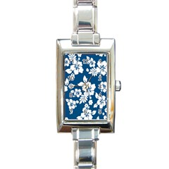 Hibiscus Flowers Seamless Blue White Hawaiian Rectangle Italian Charm Watch by Mariart