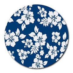 Hibiscus Flowers Seamless Blue White Hawaiian Round Mousepads by Mariart