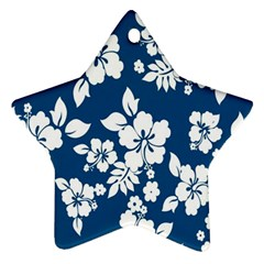 Hibiscus Flowers Seamless Blue White Hawaiian Ornament (star)