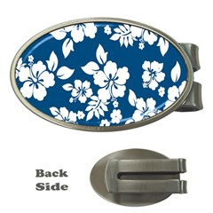 Hibiscus Flowers Seamless Blue White Hawaiian Money Clips (oval)  by Mariart
