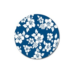 Hibiscus Flowers Seamless Blue White Hawaiian Magnet 3  (round) by Mariart
