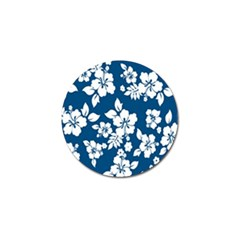 Hibiscus Flowers Seamless Blue White Hawaiian Golf Ball Marker (4 Pack) by Mariart