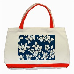 Hibiscus Flowers Seamless Blue White Hawaiian Classic Tote Bag (red) by Mariart