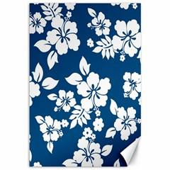 Hibiscus Flowers Seamless Blue White Hawaiian Canvas 12  X 18   by Mariart