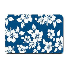 Hibiscus Flowers Seamless Blue White Hawaiian Small Doormat  by Mariart