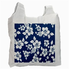 Hibiscus Flowers Seamless Blue White Hawaiian Recycle Bag (one Side) by Mariart