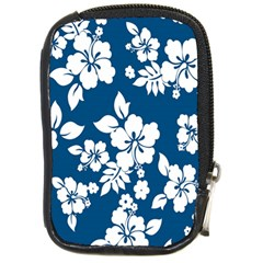 Hibiscus Flowers Seamless Blue White Hawaiian Compact Camera Cases by Mariart