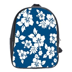Hibiscus Flowers Seamless Blue White Hawaiian School Bags(large)