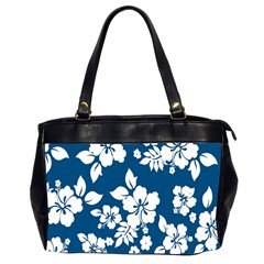 Hibiscus Flowers Seamless Blue White Hawaiian Office Handbags (2 Sides)  by Mariart