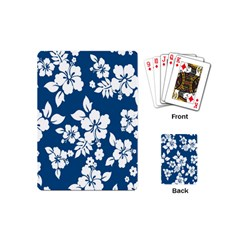 Hibiscus Flowers Seamless Blue White Hawaiian Playing Cards (mini)  by Mariart