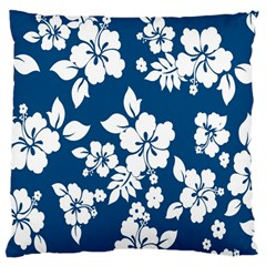 Hibiscus Flowers Seamless Blue White Hawaiian Large Cushion Case (two Sides)