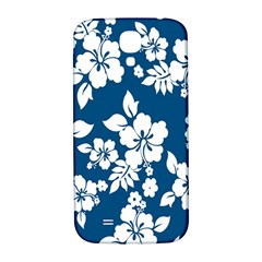 Hibiscus Flowers Seamless Blue White Hawaiian Samsung Galaxy S4 I9500/i9505  Hardshell Back Case by Mariart