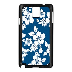 Hibiscus Flowers Seamless Blue White Hawaiian Samsung Galaxy Note 3 N9005 Case (black) by Mariart