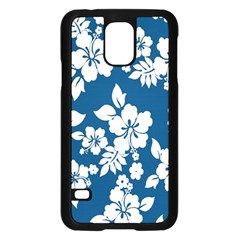 Hibiscus Flowers Seamless Blue White Hawaiian Samsung Galaxy S5 Case (black) by Mariart