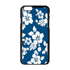 Hibiscus Flowers Seamless Blue White Hawaiian Apple Iphone 6/6s Black Enamel Case by Mariart