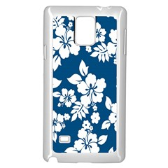 Hibiscus Flowers Seamless Blue White Hawaiian Samsung Galaxy Note 4 Case (white) by Mariart