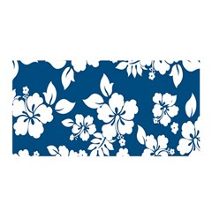 Hibiscus Flowers Seamless Blue White Hawaiian Satin Wrap by Mariart