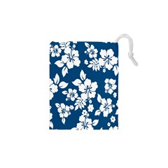 Hibiscus Flowers Seamless Blue White Hawaiian Drawstring Pouches (xs)