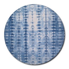 Indigo Grey Tie Dye Kaleidoscope Opaque Color Round Mousepads by Mariart