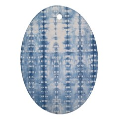 Indigo Grey Tie Dye Kaleidoscope Opaque Color Ornament (oval)