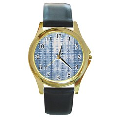 Indigo Grey Tie Dye Kaleidoscope Opaque Color Round Gold Metal Watch by Mariart