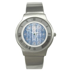 Indigo Grey Tie Dye Kaleidoscope Opaque Color Stainless Steel Watch by Mariart