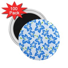 Hibiscus Flowers Seamless Blue 2 25  Magnets (100 Pack)  by Mariart