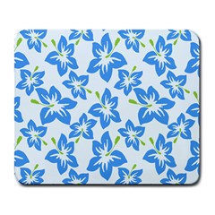 Hibiscus Flowers Seamless Blue Large Mousepads by Mariart