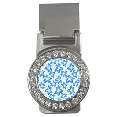 Hibiscus Flowers Seamless Blue Money Clips (cz)  by Mariart