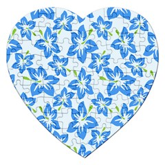 Hibiscus Flowers Seamless Blue Jigsaw Puzzle (heart) by Mariart