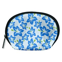 Hibiscus Flowers Seamless Blue Accessory Pouches (medium)  by Mariart