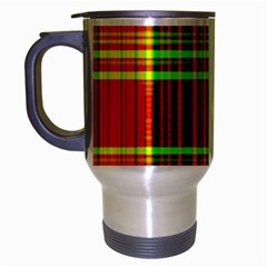 Line Light Neon Red Green Travel Mug (silver Gray) by Mariart